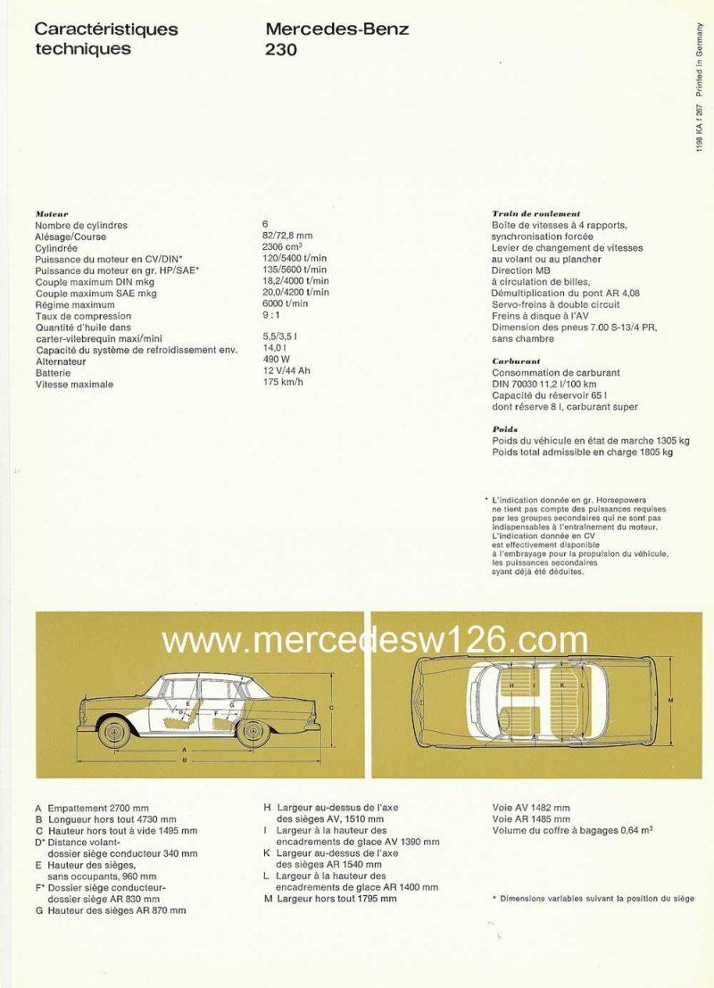 Catalogue de 1967 sur la Mercedes W110  230 W110_243