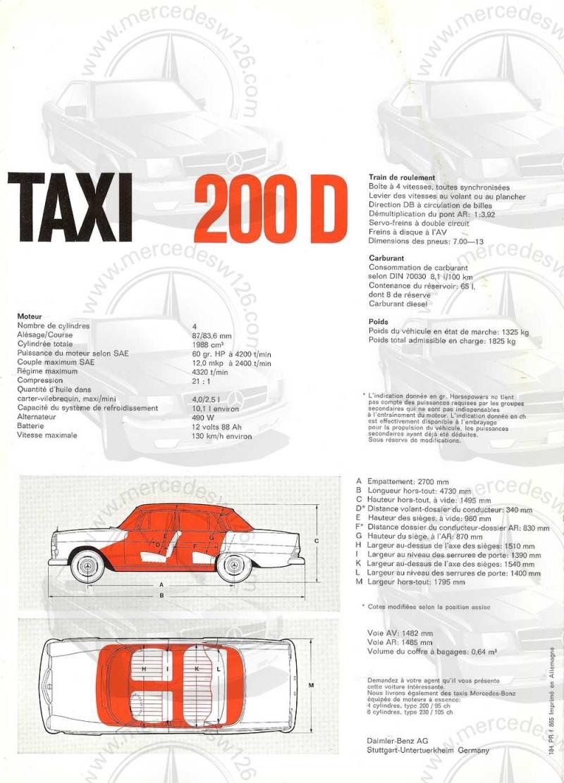 Catalogue de 1965 sur la Mercedes W110 200 D Taxi W110_t17