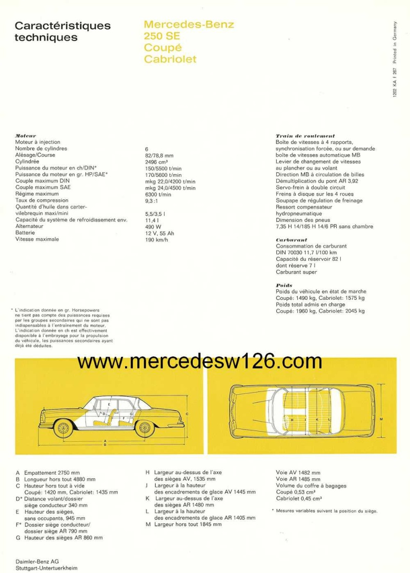Catalogue de 1967 sur les Mercedes W111 250 SE coupé & cabriolet W112_222