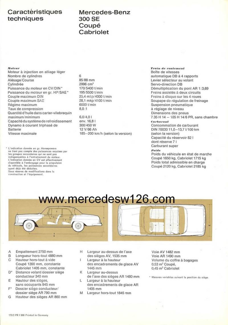 Catalogue de 1966 sur les Mercedes W112 300 SE coupé & cabriolet W112_c16