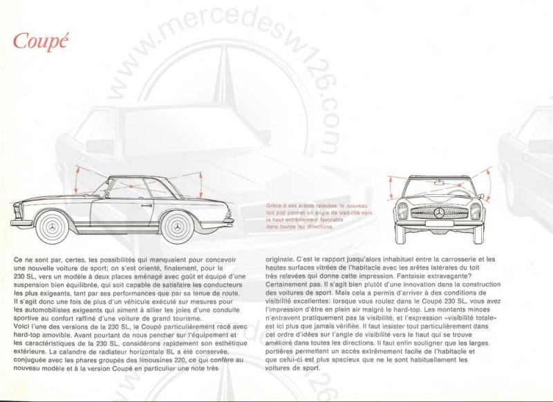 "Catalogue de 1965 sur la Mercedes W113 230 SL ""pagode"" W113_213"