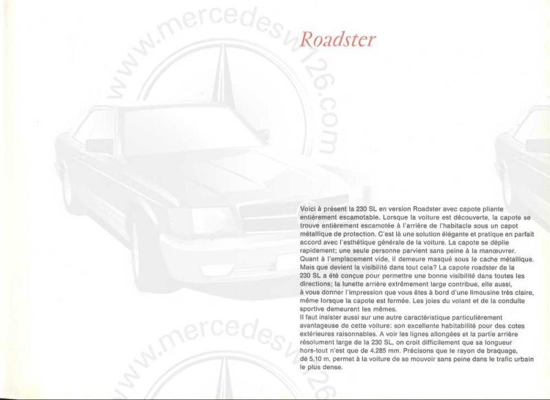 "Catalogue de 1965 sur la Mercedes W113 230 SL ""pagode"" W113_216"