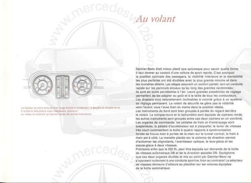 "Catalogue de 1965 sur la Mercedes W113 230 SL ""pagode"" W113_218"