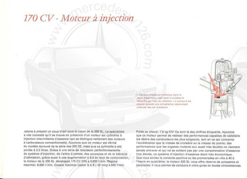 "Catalogue de 1965 sur la Mercedes W113 230 SL ""pagode"" W113_220"