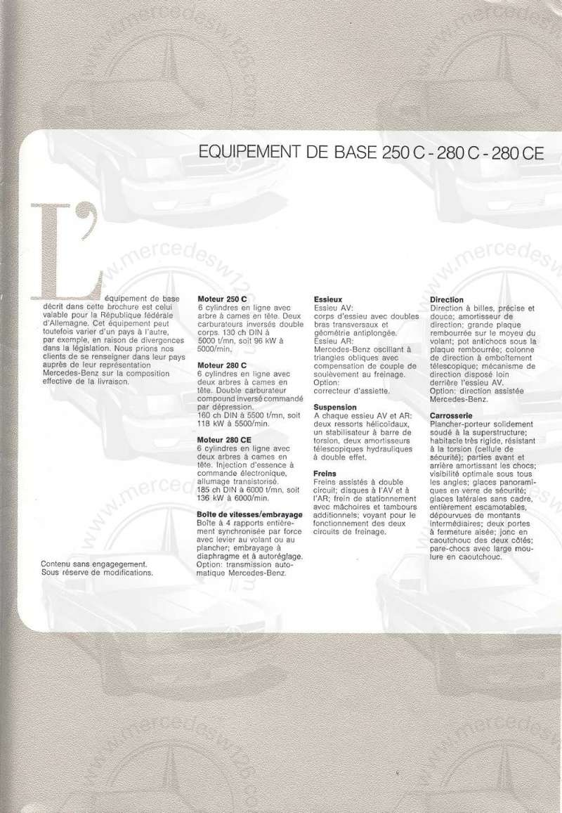 Catalogue de 1974 sur les W114 250 C, 280 C et 280 CE W114_c31