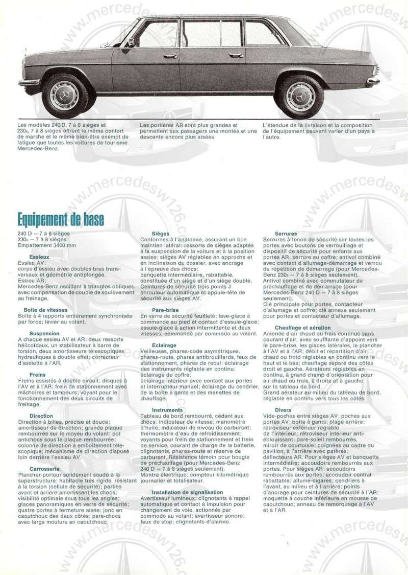 Catalogue de 1973 sur les Mercedes W114 et W115 limousines W114_l12