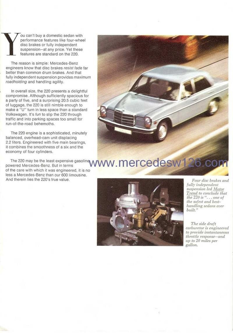 Catalogue de 1971 sur les Mercedes W114 & W115 version US W114_u12