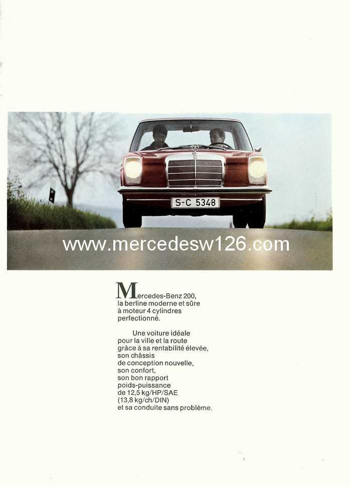 Catalogue de 1968 sur la Mercedes W115 200 W115_211