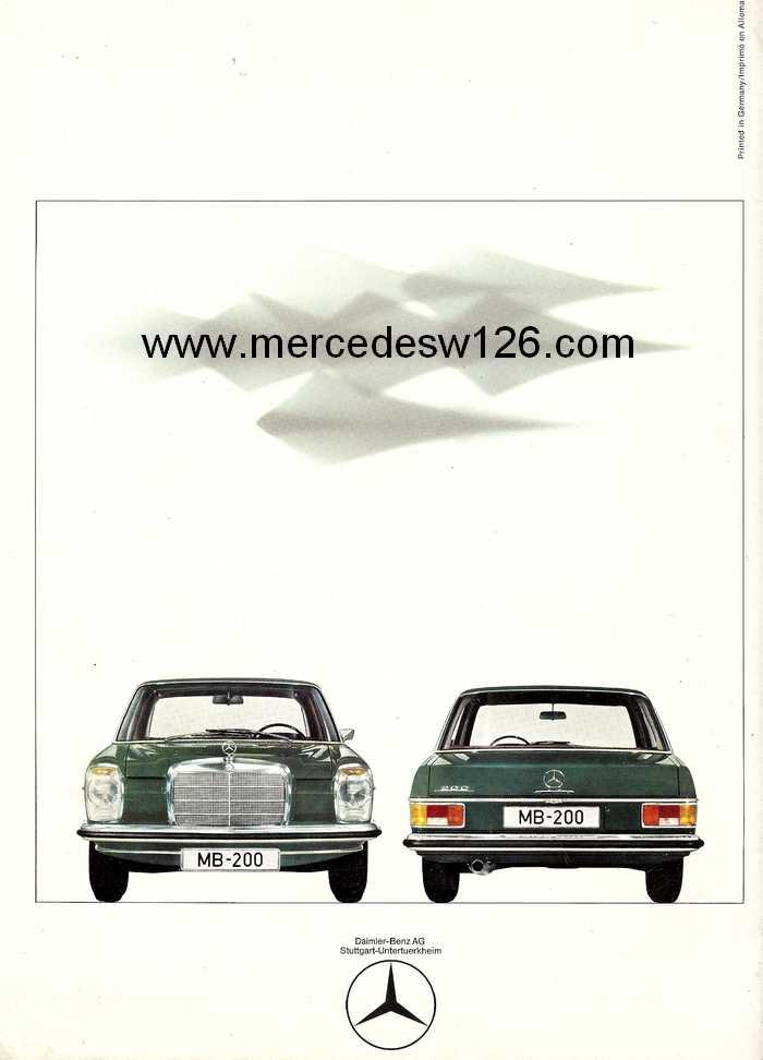Catalogue de 1968 sur la Mercedes W115 200 W115_219