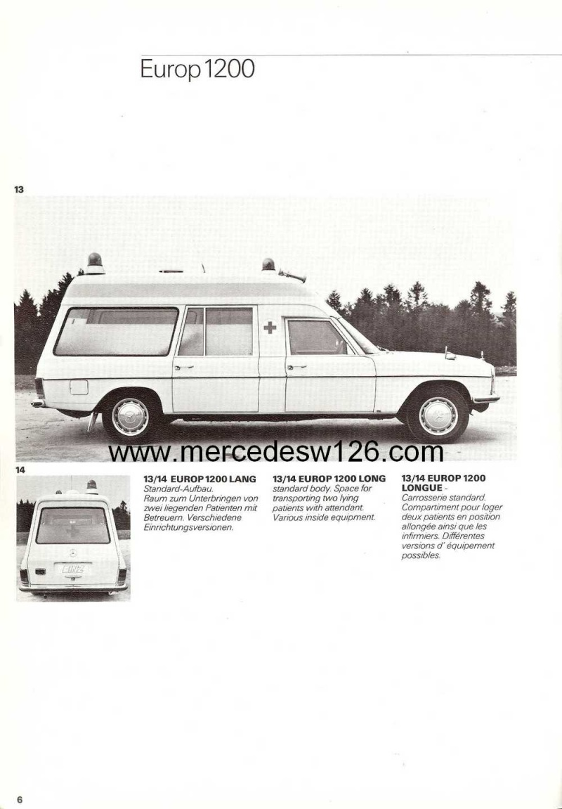 "Catalogue sur la Mercedes W115 ambulance ""Binz"" W115_b10"