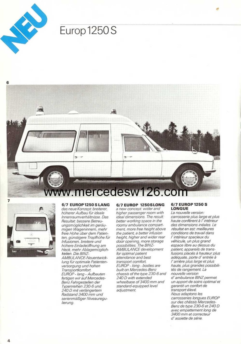 "Catalogue sur la Mercedes W115 ambulance ""Binz"" W115_b11"