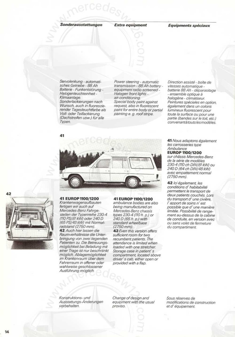 "Catalogue sur la Mercedes W115 ambulance ""Binz"" W115_b22"