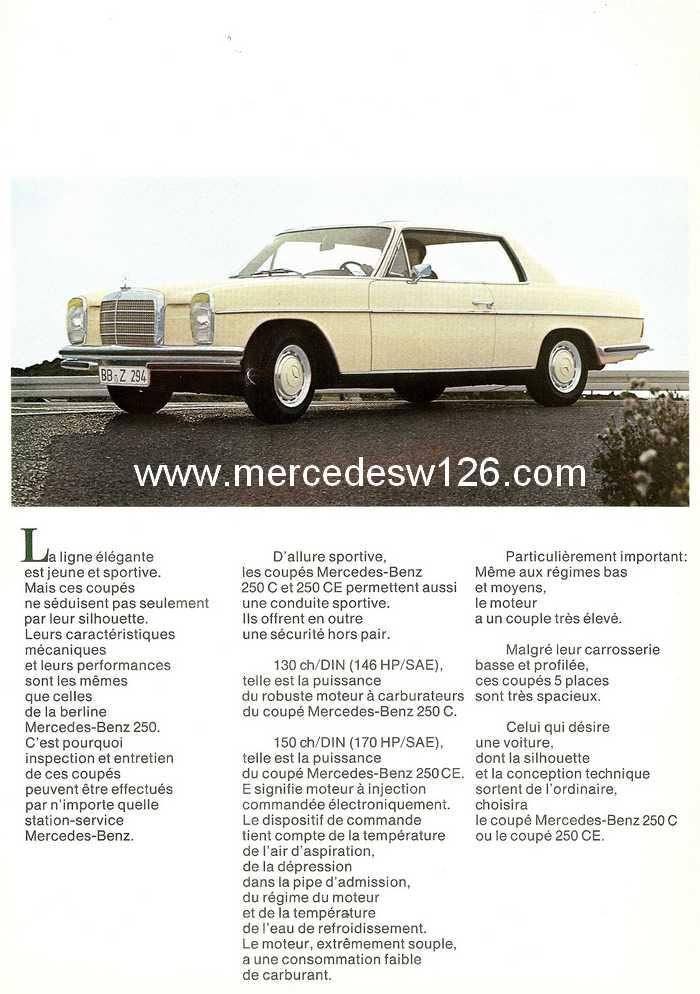 Catalogue de 1968 sur les coupés 250 C & CE W115_c11