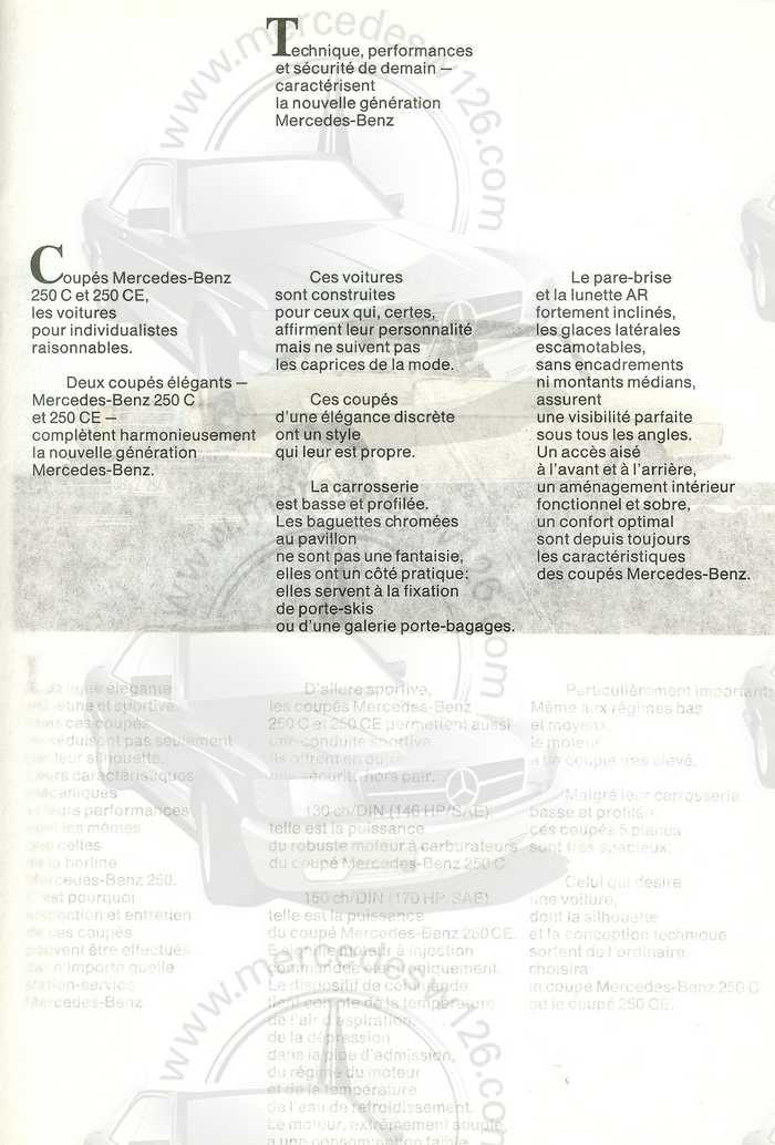 Catalogue de 1968 sur les coupés 250 C & CE W115_c12