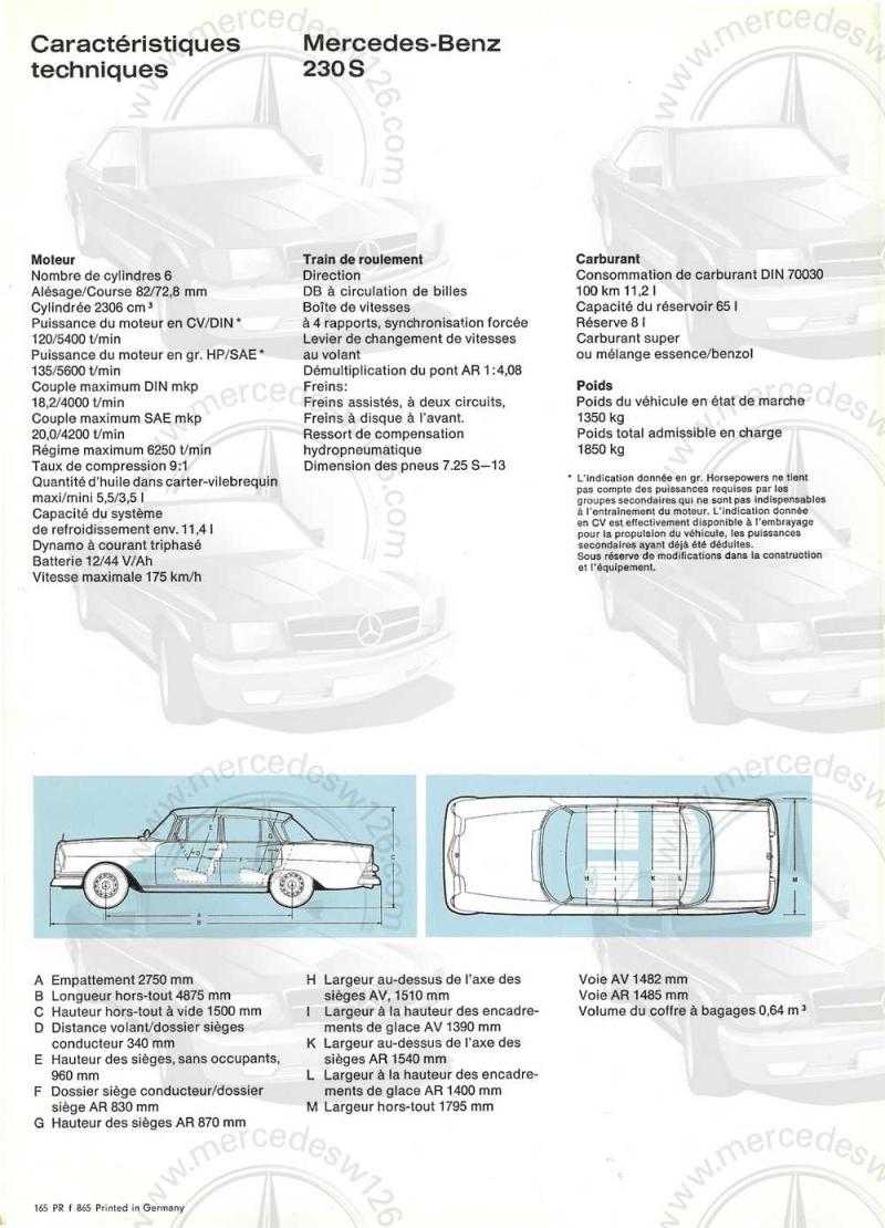 Catalogue de 1965 sur la Mercedes W111 230S W11_2312