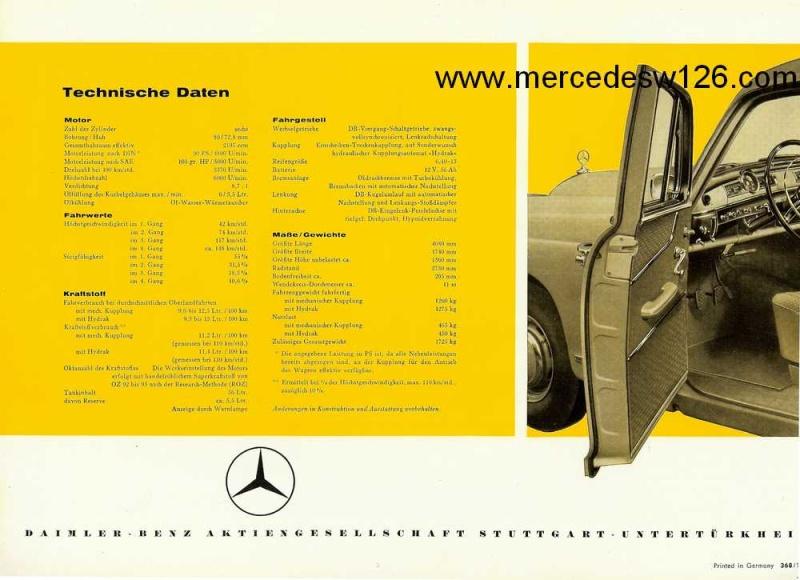 Catalogue de 1960 sur la Mercedes W180 219  W180_221