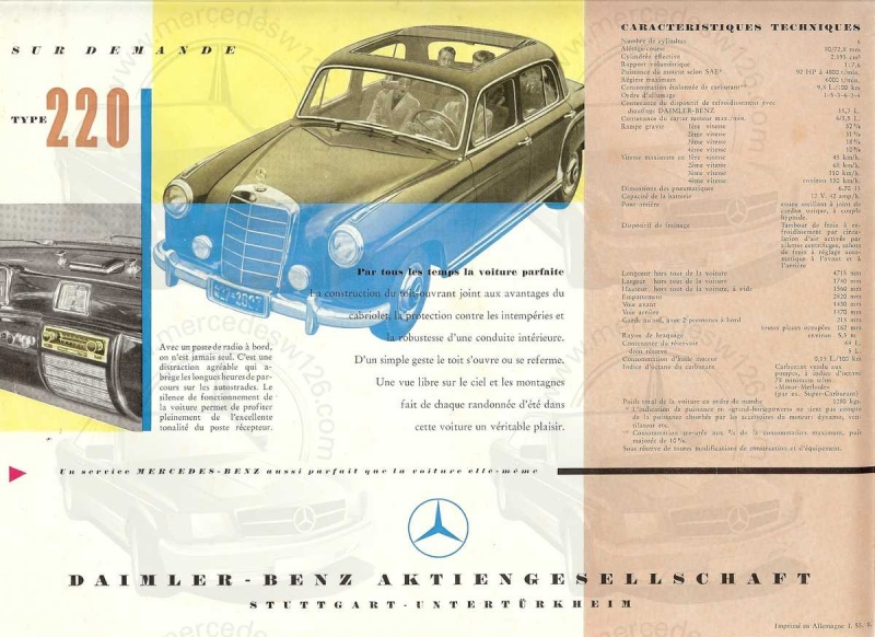 "Catalogue de 1954 sur la Mercedes W180 220 ""ponton"" W180_243"