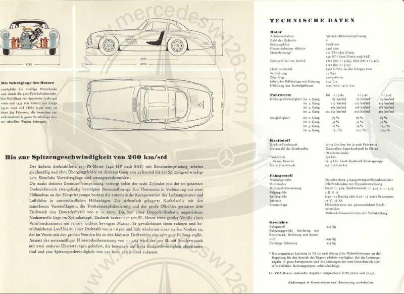 """Catalogue de 1956 sur la Mercedes W198 300 SL """"papillon"""" W198_121"""