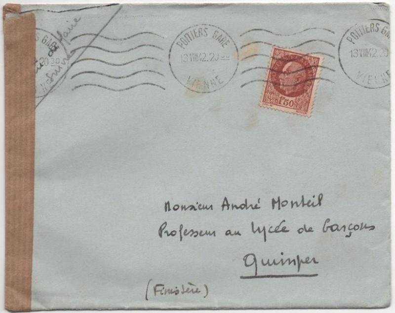 Cachet de censure avec Francisque  «  SURETE NATIONALE  * BUREAU DE LA CENSURE *  ETAT FRANÇAIS » 1942_c12