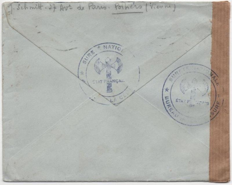 Cachet de censure avec Francisque  «  SURETE NATIONALE  * BUREAU DE LA CENSURE *  ETAT FRANÇAIS » 1942_c13