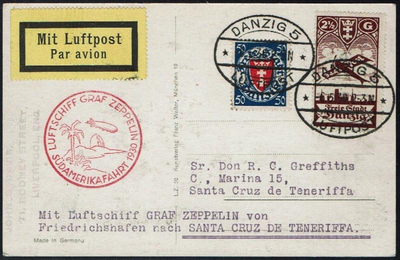 nach - Südamerikafahrt 1930, Post nach Praia (Kapverdische Inseln) 57_j_d10