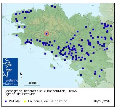 Carte des données naturalistes Odonates Agrion12