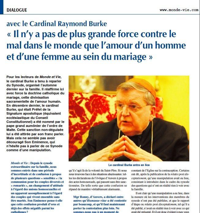 EXCLUSIF : Un entretien inédit avec le Cardinal Burke à propos de la Famille, du Mariage et du Synod Captur10