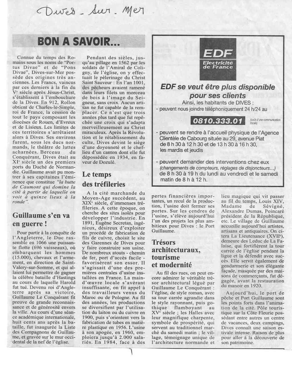 Histoire des communes - Dives-sur-Mer 1103