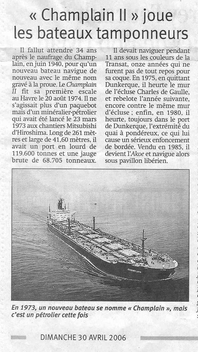 Histoire de bateaux - Le Champlain 814