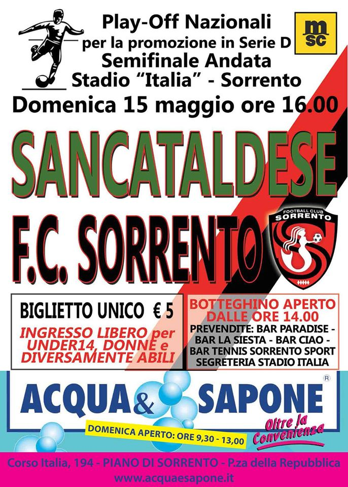 Sem. andata play off nazionali: sorrento - Sancataldese 1-3 13064610