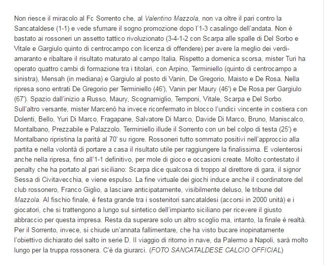 Sem. ritorno play off nazionali: Sancataldese - sorrento 1-1 210