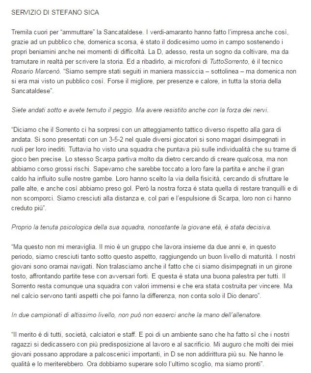 Sem. ritorno play off nazionali: Sancataldese - sorrento 1-1 212