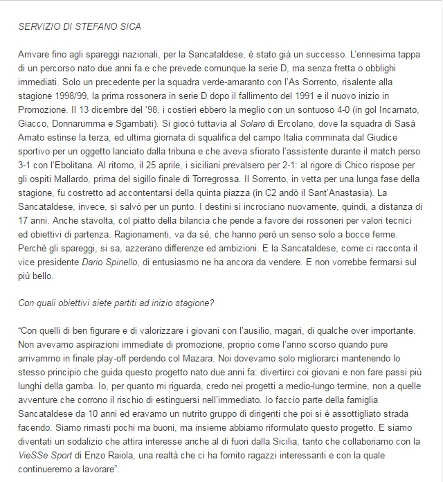 Sem. andata play off nazionali: sorrento - Sancataldese 1-3 Artico12