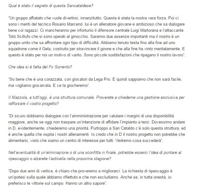 Sem. andata play off nazionali: sorrento - Sancataldese 1-3 Artico13
