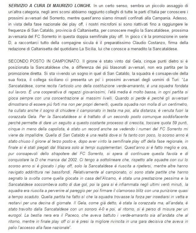 Sem. andata play off nazionali: sorrento - Sancataldese 1-3 Artico15