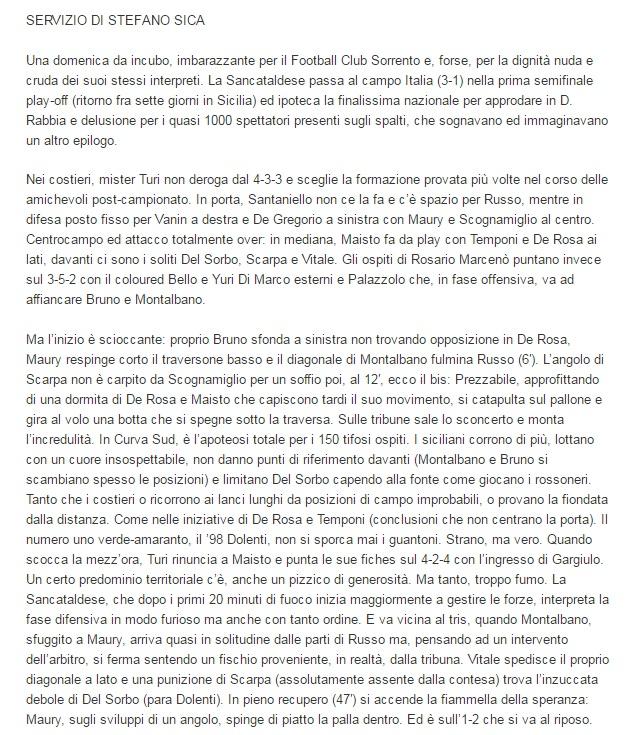 Sem. andata play off nazionali: sorrento - Sancataldese 1-3 Artico18