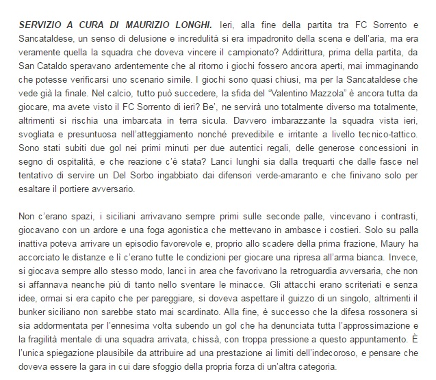 Sem. andata play off nazionali: sorrento - Sancataldese 1-3 Artico21