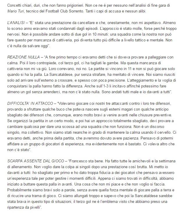 Sem. andata play off nazionali: sorrento - Sancataldese 1-3 Artico24