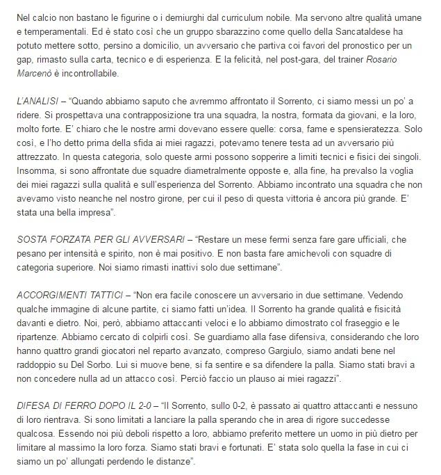 Sem. andata play off nazionali: sorrento - Sancataldese 1-3 Artico27