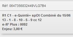 15/06/2018 --- VINCENNES --- R1C1 --- Mise 3 € => Gains 0 €. Scree171