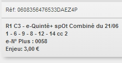 21/06/2018 --- LA TESTE --- R1C3 --- Mise 3 € => Gains 0 € Scree195