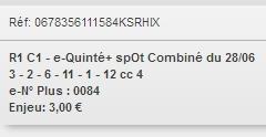 28/06/2018 --- VICHY --- R1C1 --- Mise 3 € => Gains 19,65 €. Scree226