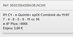 11/07/2018 --- ENGHIEN --- R1C1 --- Mise 3 € => Gains 0 €. Scree270