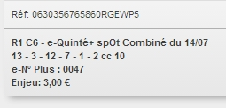 14/07/2018 --- LONGCHAMP --- R1C6 --- Mise 3 € => Gains 0 €. Scree279