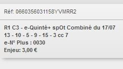 17/07/2018 --- VICHY --- R1C3 --- Mise 3 € => Gains 0 €. Scree295