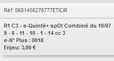 19/07/2018 --- VICHY --- R1C3 --- Mise 3 € => Gains 0 €. Scree303