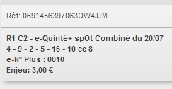20/07/2018 --- CABOURG --- R1C2 --- Mise 3 € => Gains 0 €. Scree307