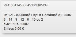 25/07/2018 --- ENGHIEN --- R1C1 --- Mise 3 € => Gains 0 €. Scree332