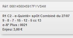 27/07/2018 --- CABOURG --- R1C2 --- Mise 3 € => Gains 0 €. Scree340
