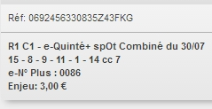 30/07/2018 --- CLAIREFONTAINE --- R1C1 --- Mise 3 € => Gains 0 €. Scree353